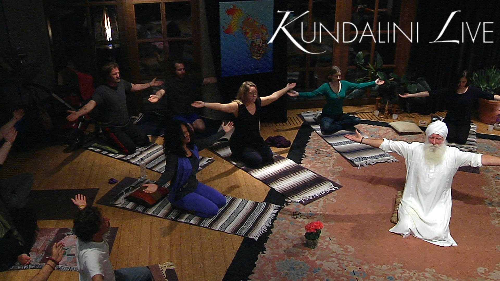 large group yoga workshop learning meditation together with breath of fire for happiness-and-less-pain