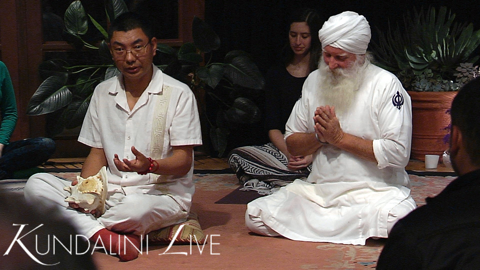 wahe guru bowing prayer with rinpoche during naad sound-healing yoga