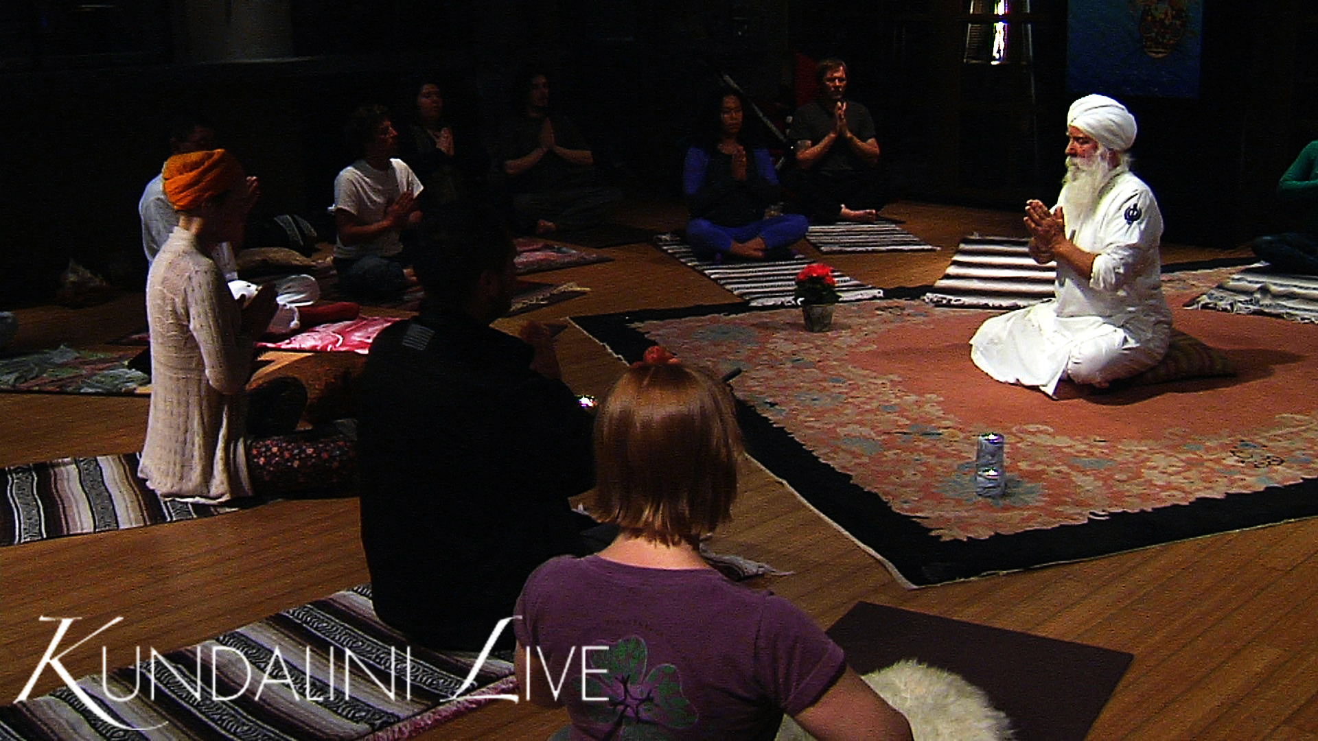 yoga class invocation meditation in anjali mudra prayer pose guided power connection breathing